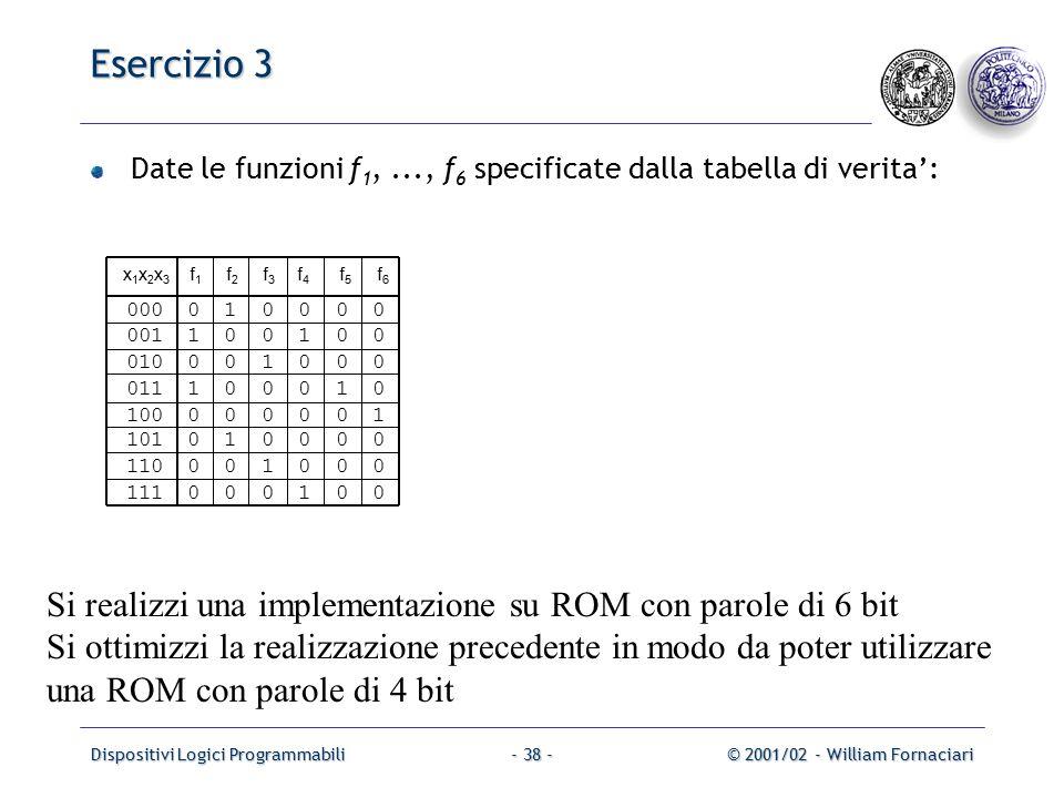 Dispositivi Logici Programmabili© 2001/02 - William Fornaciari- 38 - Esercizio 3 Date le funzioni f 1,..., f 6 specificate dalla tabella di verita': Si realizzi una implementazione su ROM con parole di 6 bit Si ottimizzi la realizzazione precedente in modo da poter utilizzare una ROM con parole di 4 bit x 1 x 2 x 3 f 1 f 2 f 3 f 4 f 5 f 6 000 0 1 0 0 0 0 001 1 0 0 1 0 0 010 0 0 1 0 0 0 011 1 0 0 0 1 0 100 0 0 0 0 0 1 101 0 1 0 0 0 0 110 0 0 1 0 0 0 111 0 0 0 1 0 0