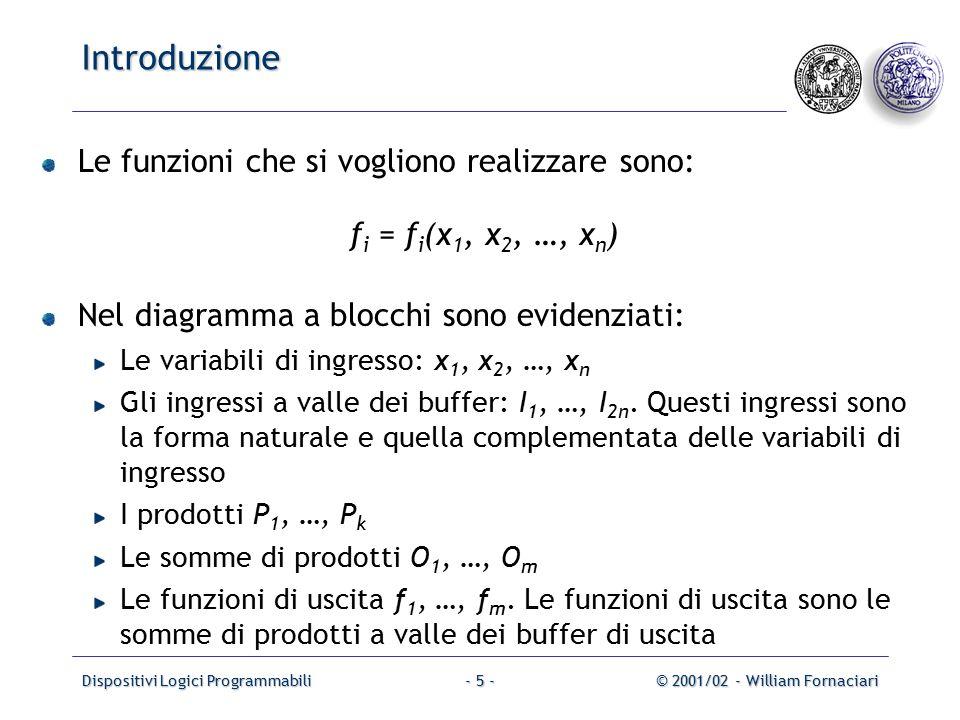 Dispositivi Logici Programmabili© 2001/02 - William Fornaciari- 5 - Introduzione Le funzioni che si vogliono realizzare sono: f i = f i (x 1, x 2, …, x n ) Nel diagramma a blocchi sono evidenziati: Le variabili di ingresso: x 1, x 2, …, x n Gli ingressi a valle dei buffer: I 1, …, I 2n.