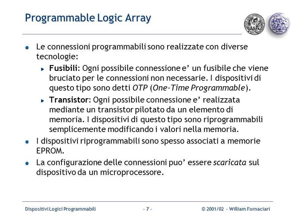 Dispositivi Logici Programmabili© 2001/02 - William Fornaciari- 28 - Esempio 5 Data la ROM programmata come in figura, utilizzare il metodo di codifica in modo da utilizzare una ROM con parole di 8 bit.