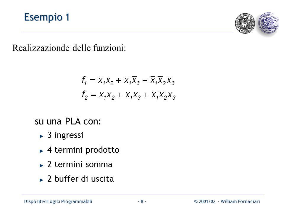 Dispositivi Logici Programmabili© 2001/02 - William Fornaciari- 8 - Esempio 1 su una PLA con: 3 ingressi 4 termini prodotto 2 termini somma 2 buffer di uscita Realizzazionde delle funzioni: