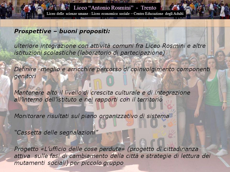 Prospettive – buoni propositi: ulteriore integrazione con attività comuni fra Liceo Rosmini e altre istituzioni scolastiche (laboratorio di partecipaz
