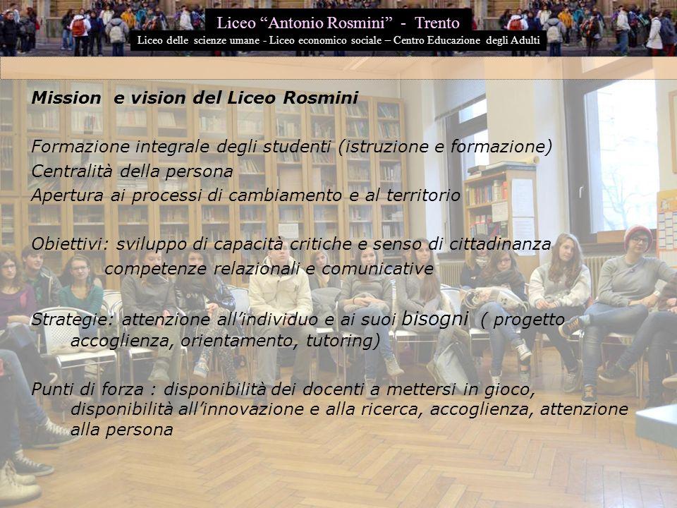 Mission e vision del Liceo Rosmini Formazione integrale degli studenti (istruzione e formazione) Centralità della persona Apertura ai processi di camb