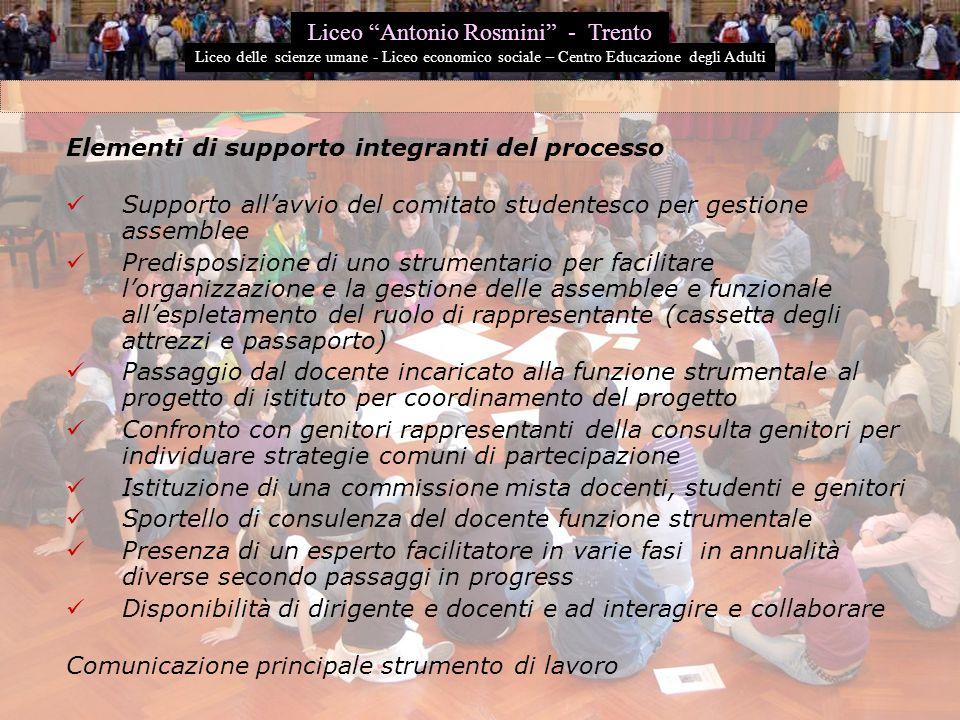 Elementi di supporto integranti del processo Supporto all'avvio del comitato studentesco per gestione assemblee Predisposizione di uno strumentario pe