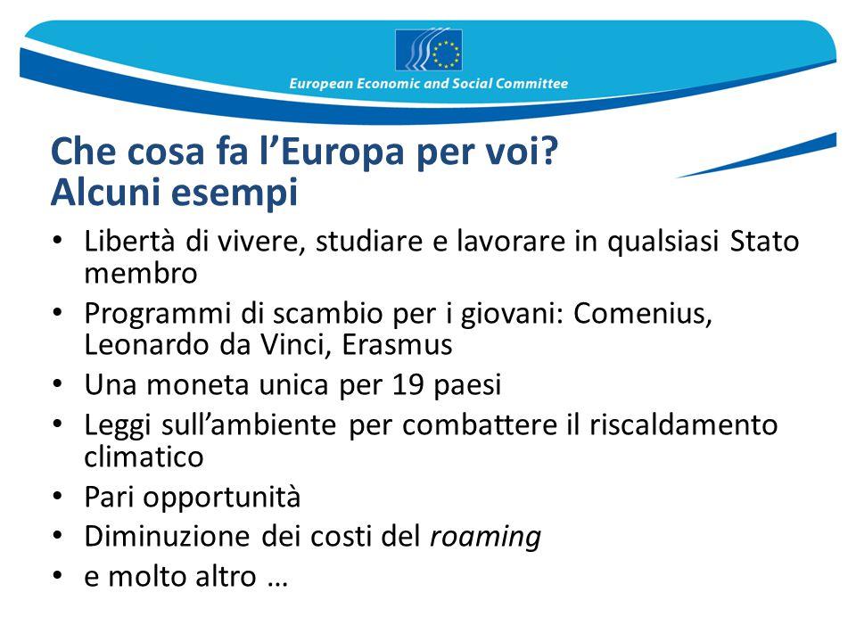 Che cosa fa l'Europa per voi? Alcuni esempi Libertà di vivere, studiare e lavorare in qualsiasi Stato membro Programmi di scambio per i giovani: Comen
