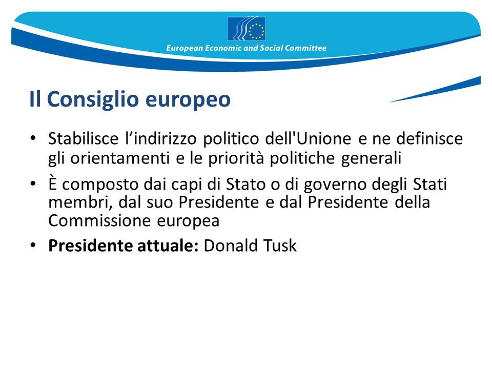 Il Consiglio europeo Stabilisce l'indirizzo politico dell'Unione e ne definisce gli orientamenti e le priorità politiche generali È composto dai capi