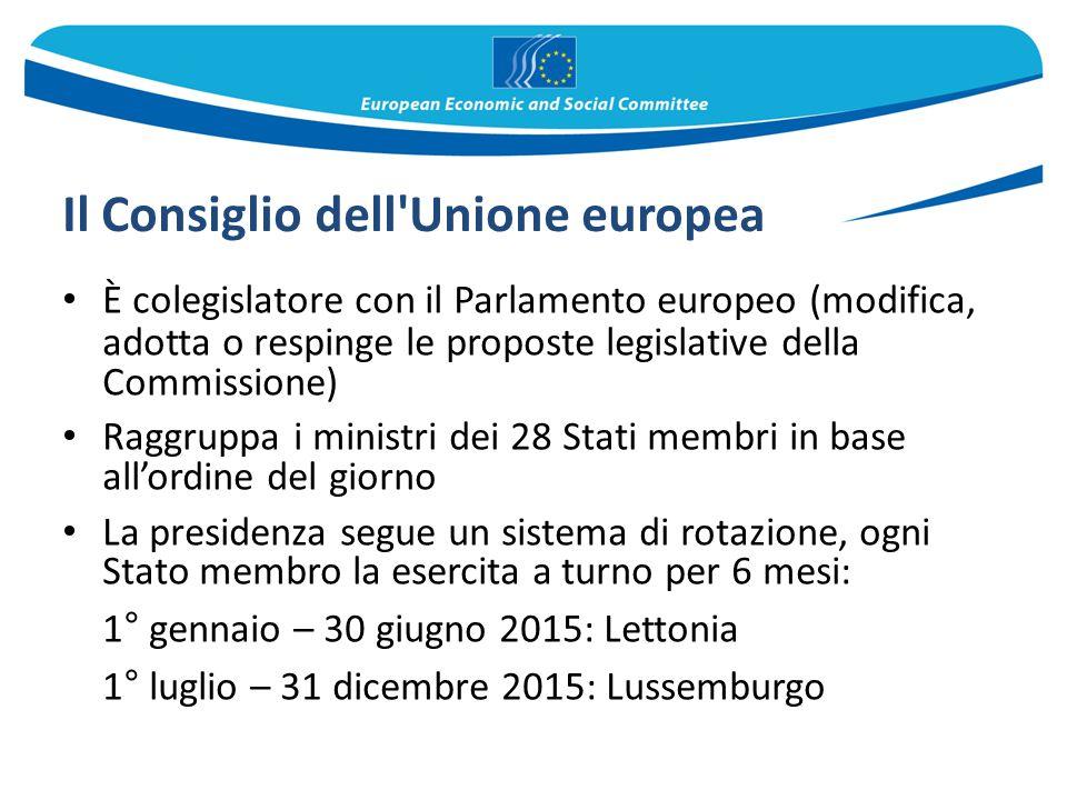 Il Consiglio dell'Unione europea È colegislatore con il Parlamento europeo (modifica, adotta o respinge le proposte legislative della Commissione) Rag