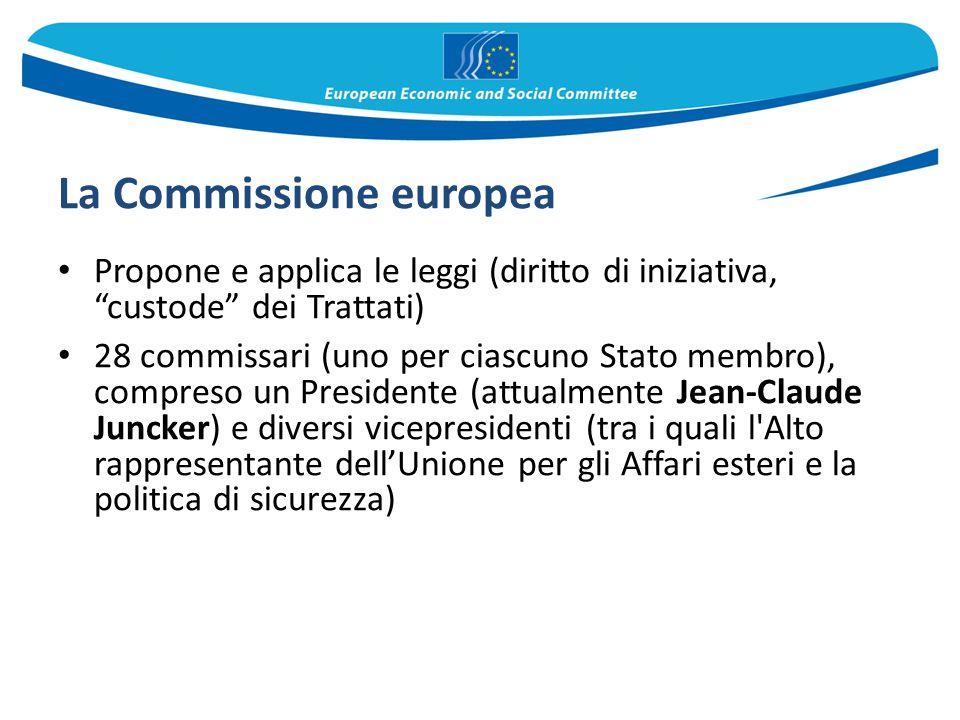 """La Commissione europea Propone e applica le leggi (diritto di iniziativa, """"custode"""" dei Trattati) 28 commissari (uno per ciascuno Stato membro), compr"""