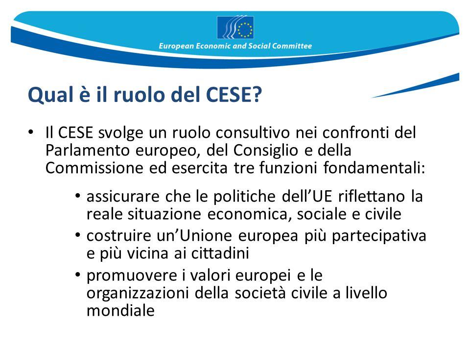 Qual è il ruolo del CESE? Il CESE svolge un ruolo consultivo nei confronti del Parlamento europeo, del Consiglio e della Commissione ed esercita tre f