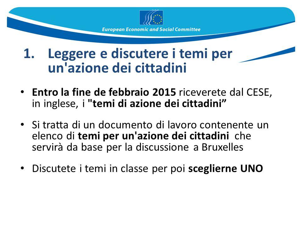 Entro la fine de febbraio 2015 riceverete dal CESE, in inglese, i