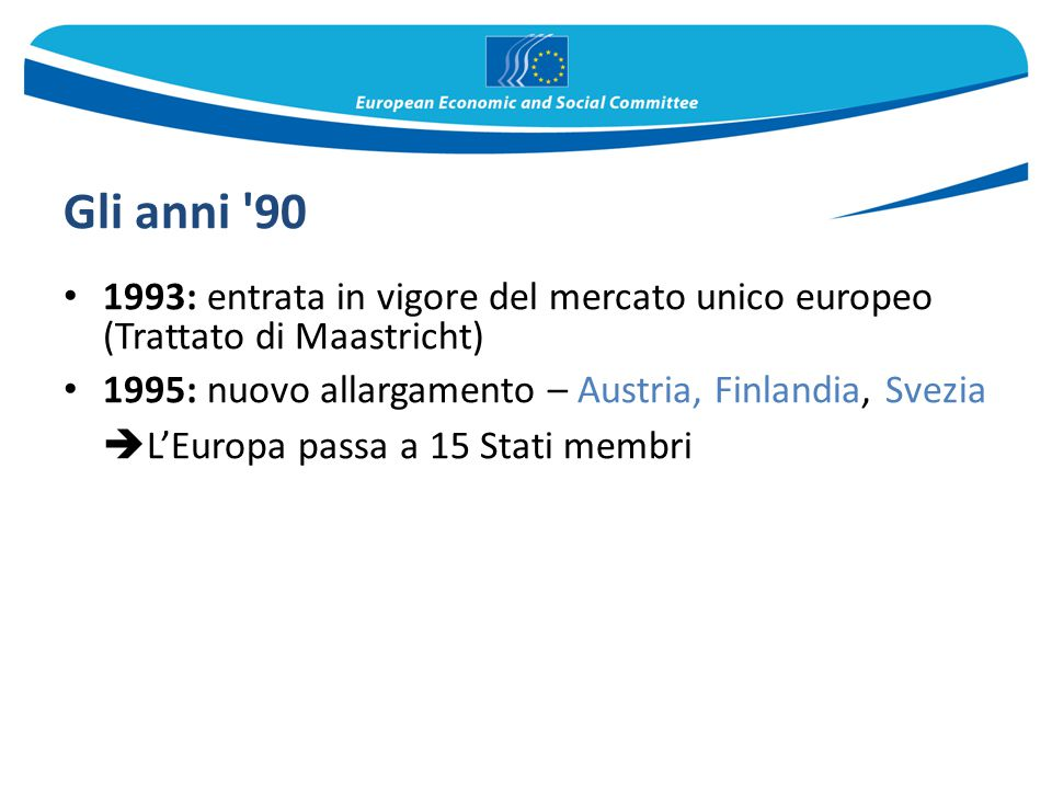 Gli anni '90 1993: entrata in vigore del mercato unico europeo (Trattato di Maastricht) 1995: nuovo allargamento – Austria, Finlandia, Svezia  L'Euro