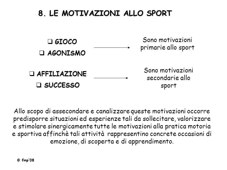 8. LE MOTIVAZIONI ALLO SPORT GIOCO  GIOCO  AGONISMO Sono motivazioni primarie allo sport AFFILIAZIONE  AFFILIAZIONE  SUCCESSO Sono motivazioni sec
