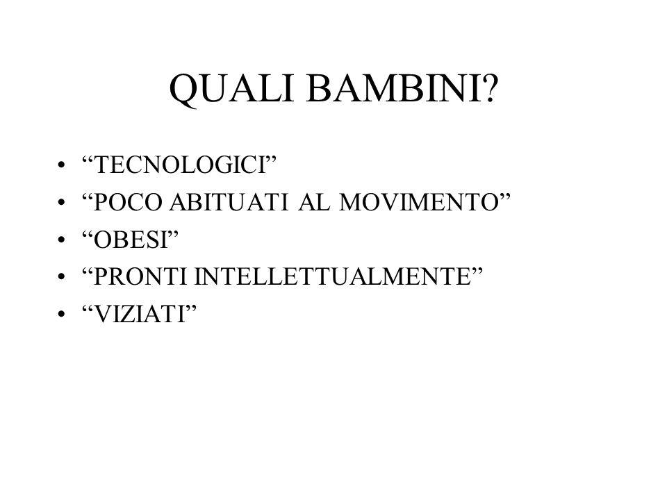 """QUALI BAMBINI? """"TECNOLOGICI"""" """"POCO ABITUATI AL MOVIMENTO"""" """"OBESI"""" """"PRONTI INTELLETTUALMENTE"""" """"VIZIATI"""""""