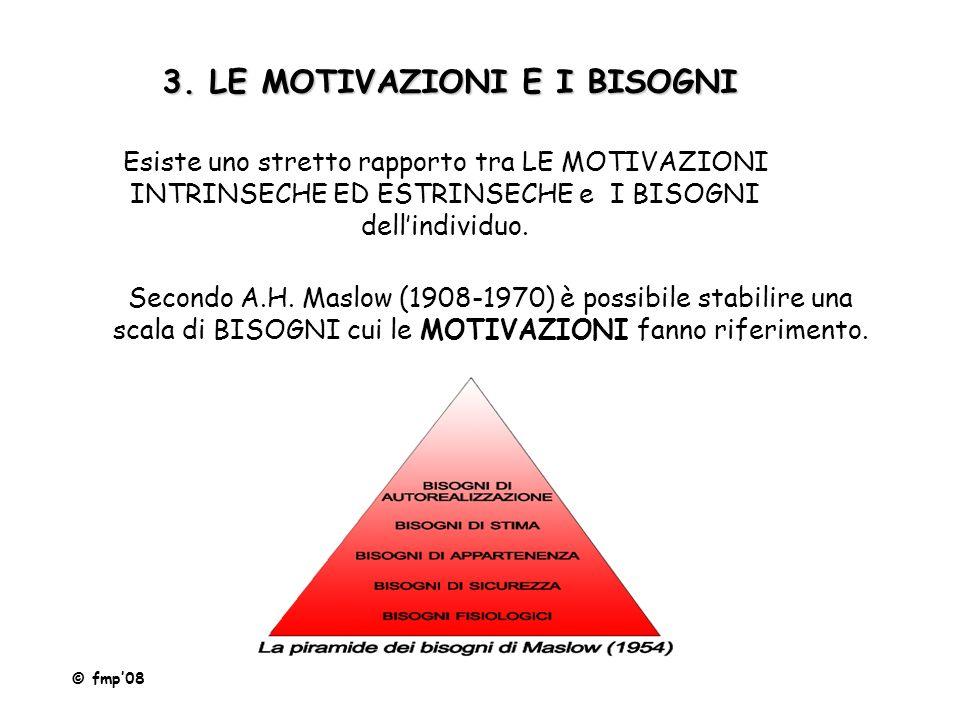 3. LE MOTIVAZIONI E I BISOGNI Esiste uno stretto rapporto tra LE MOTIVAZIONI INTRINSECHE ED ESTRINSECHE e I BISOGNI dell'individuo. Secondo A.H. Maslo