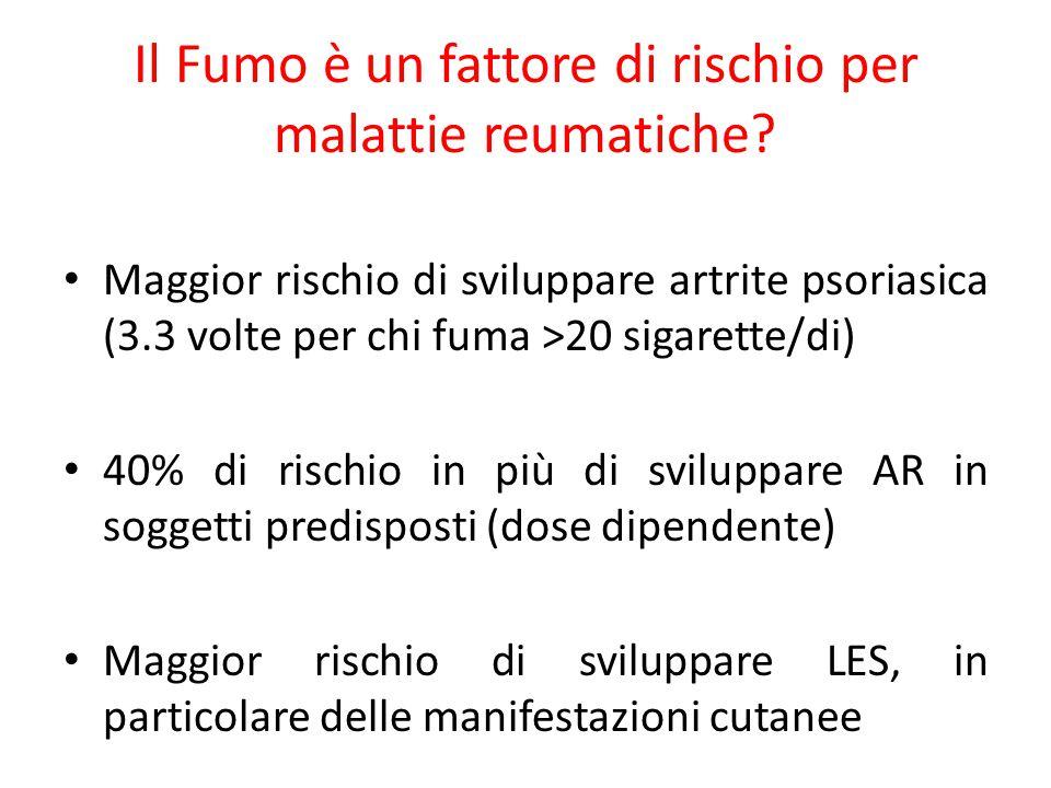 Il Fumo è un fattore di rischio per malattie reumatiche? Maggior rischio di sviluppare artrite psoriasica (3.3 volte per chi fuma >20 sigarette/di) 40