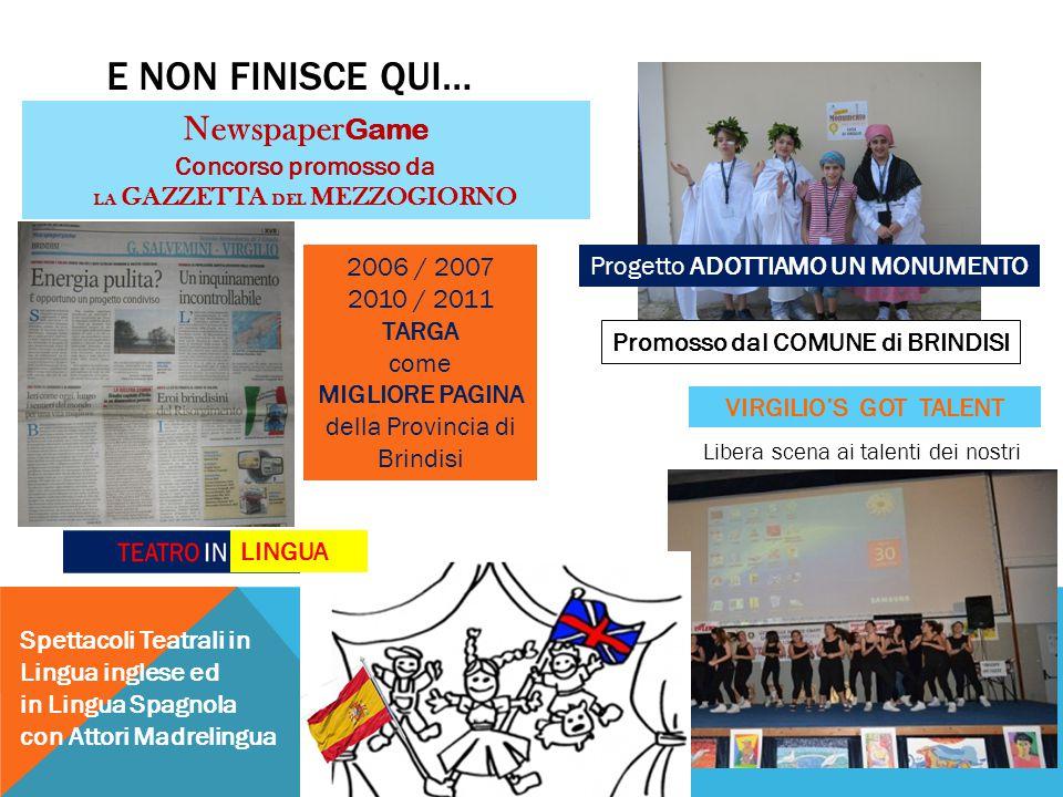 E NON FINISCE QUI… Newspaper Game Concorso promosso da LA GAZZETTA DEL MEZZOGIORNO 2006 / 2007 2010 / 2011 TARGA come MIGLIORE PAGINA della Provincia