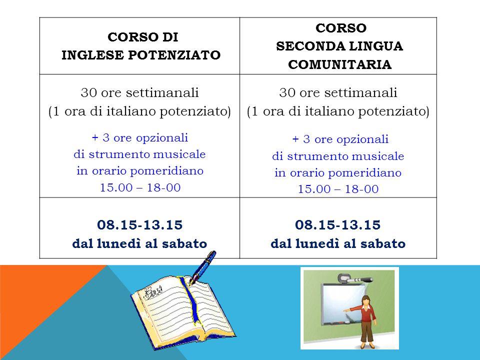 CORSO DI INGLESE POTENZIATO CORSO SECONDA LINGUA COMUNITARIA 30 ore settimanali (1 ora di italiano potenziato) + 3 ore opzionali di strumento musicale