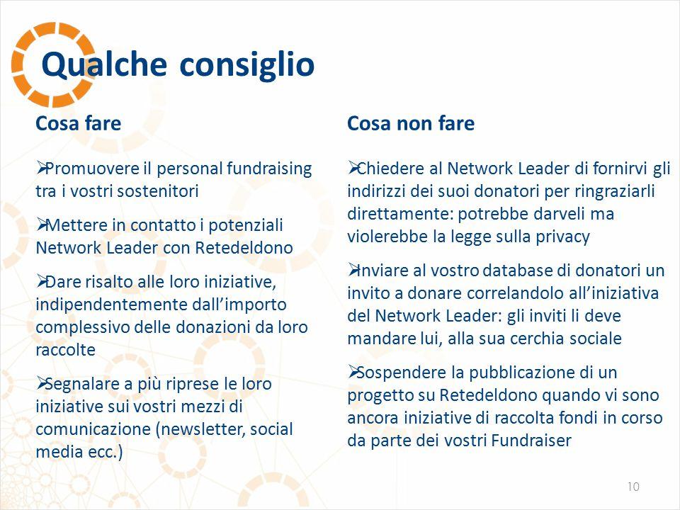 Qualche consiglio 10 Cosa fare  Promuovere il personal fundraising tra i vostri sostenitori  Mettere in contatto i potenziali Network Leader con Ret