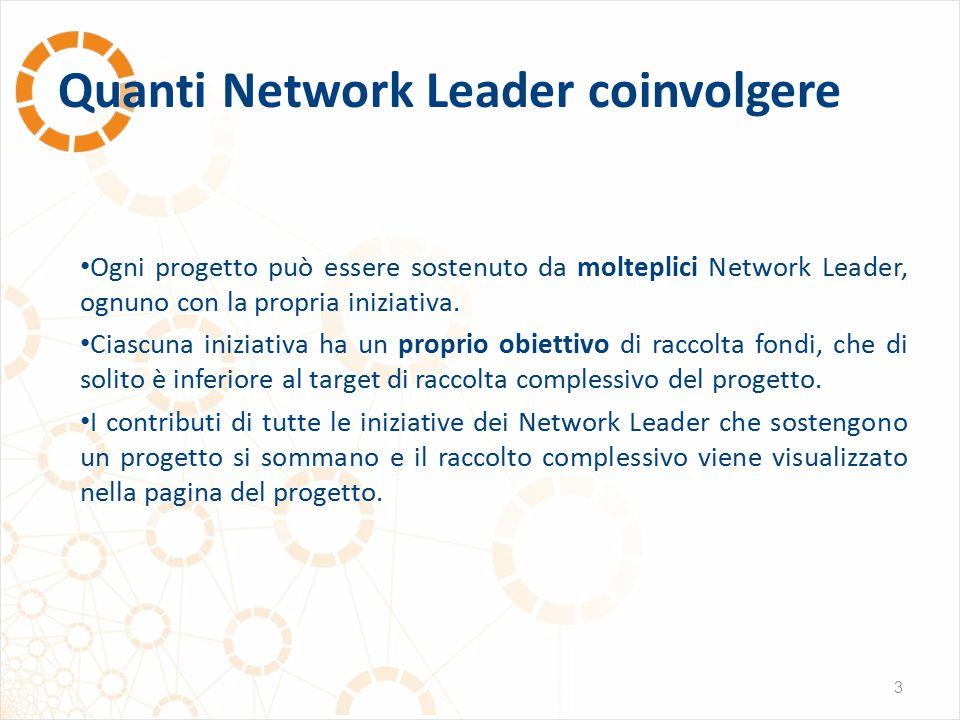 Quanti Network Leader coinvolgere 3 Ogni progetto può essere sostenuto da molteplici Network Leader, ognuno con la propria iniziativa. Ciascuna inizia