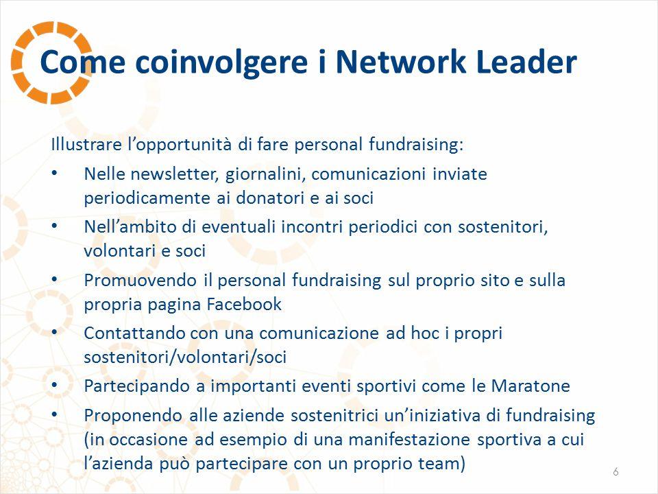 Come coinvolgere i Network Leader 6 Illustrare l'opportunità di fare personal fundraising: Nelle newsletter, giornalini, comunicazioni inviate periodi