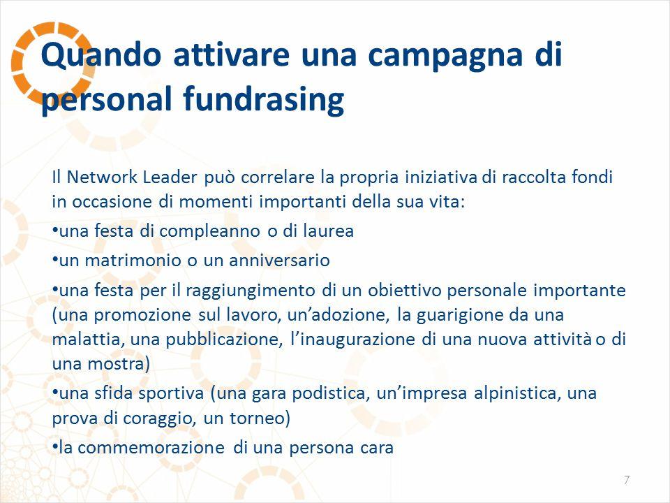 Quando attivare una campagna di personal fundrasing 7 Il Network Leader può correlare la propria iniziativa di raccolta fondi in occasione di momenti