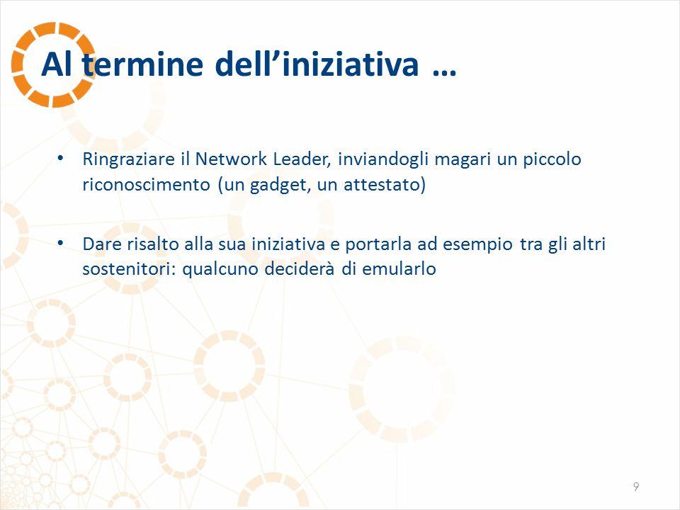 Al termine dell'iniziativa … 9 Ringraziare il Network Leader, inviandogli magari un piccolo riconoscimento (un gadget, un attestato) Dare risalto alla