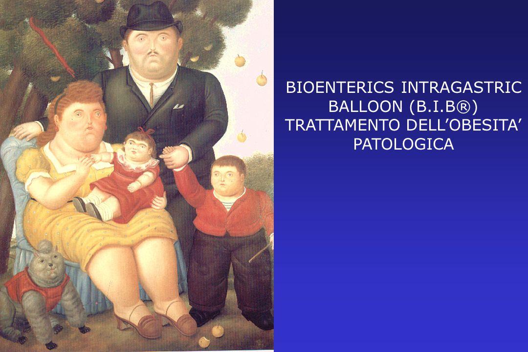 Nelle obesità patologiche presenti da oltre 5 anni con precedenti fallimenti di sola terapia dietetica: Con B.M.I.> 50 :ponte alla chirurgia bariatrica per ridurre il rischio operatorio Con B.M.I.