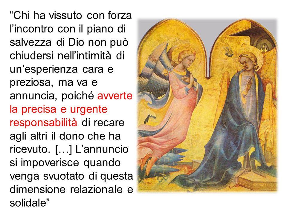 Il primo atto che Maria compì dopo aver accolto il messaggio dell'Angelo, fu di recarsi in fretta a casa della parente Elisabetta per prestarle il suo servizio (cfr Lc 1,39).