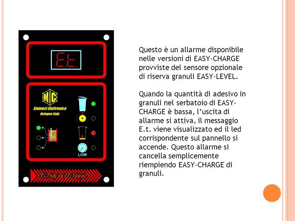 Questo è un allarme disponibile nelle versioni di EASY-CHARGE provviste del sensore opzionale di riserva granuli EASY-LEVEL. Quando la quantità di ade