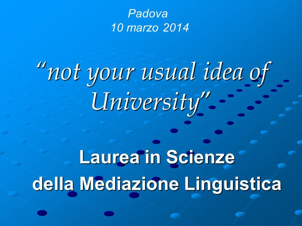 not your usual idea of University Laurea in Scienze della Mediazione Linguistica Padova 10 marzo 2014