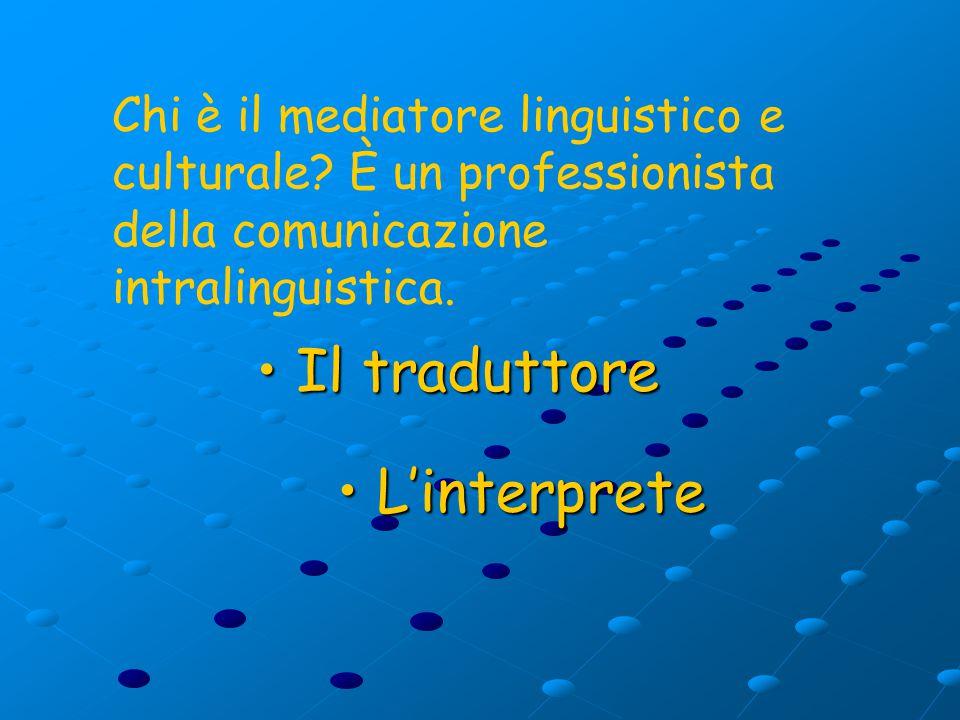 L'interprete L'interprete Il traduttore Il traduttore Chi è il mediatore linguistico e culturale.