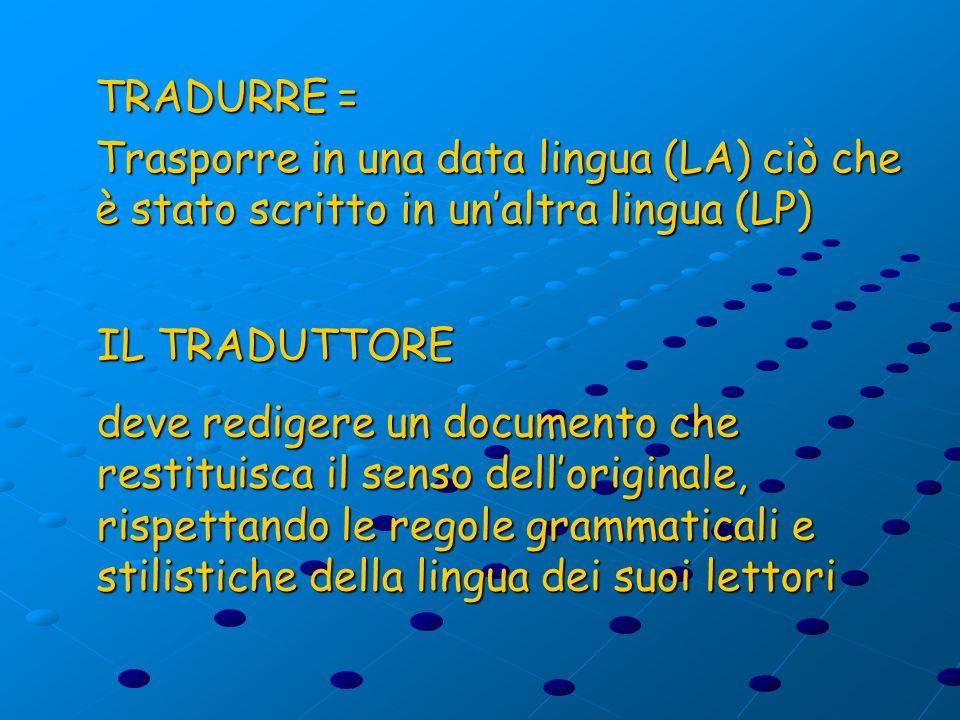 TRADURRE = Trasporre in una data lingua (LA) ciò che è stato scritto in un'altra lingua (LP) IL TRADUTTORE deve redigere un documento che restituisca il senso dell'originale, rispettando le regole grammaticali e stilistiche della lingua dei suoi lettori