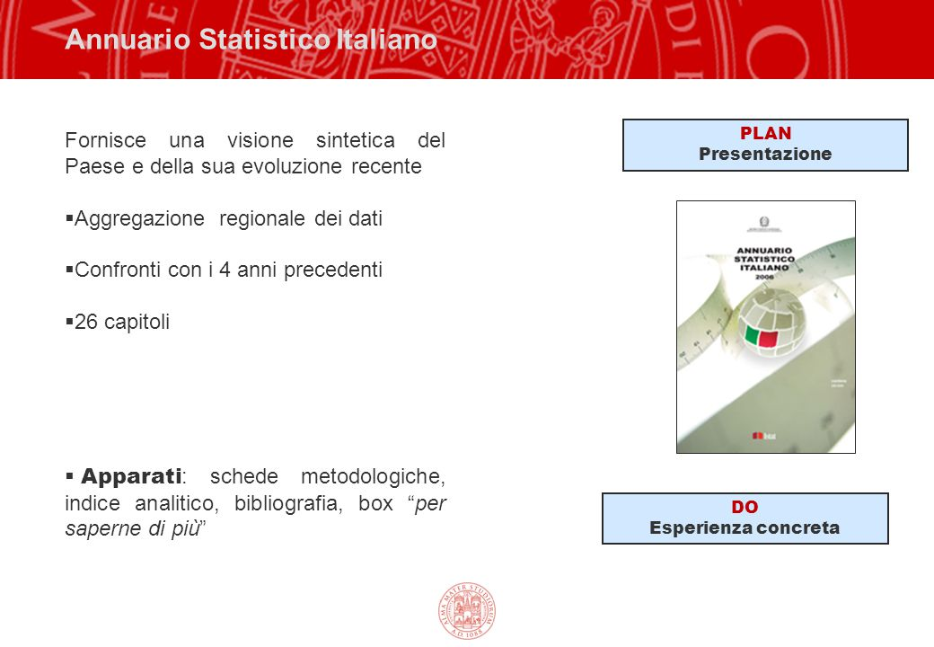 Annuario Statistico Italiano Fornisce una visione sintetica del Paese e della sua evoluzione recente  Aggregazione regionale dei dati  Confronti con