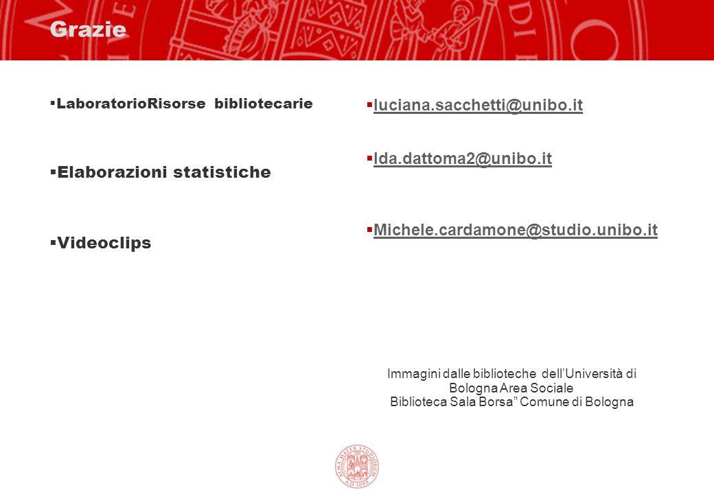 Grazie  LaboratorioRisorse bibliotecarie  Elaborazioni statistiche  Videoclips  luciana.sacchetti@unibo.it luciana.sacchetti@unibo.it  Ida.dattom