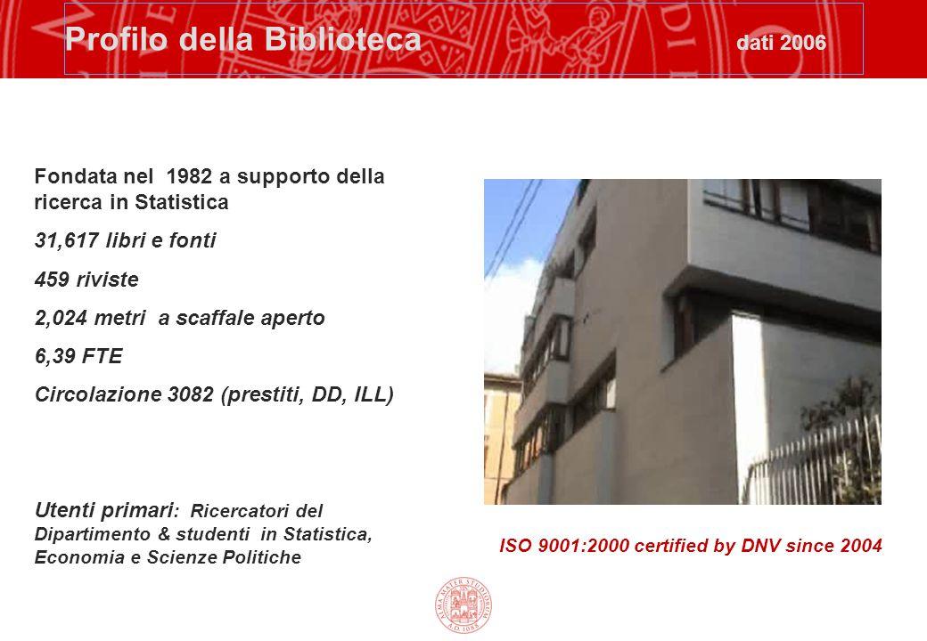 Profilo della Biblioteca dati 2006 Fondata nel 1982 a supporto della ricerca in Statistica 31,617 libri e fonti 459 riviste 2,024 metri a scaffale ape