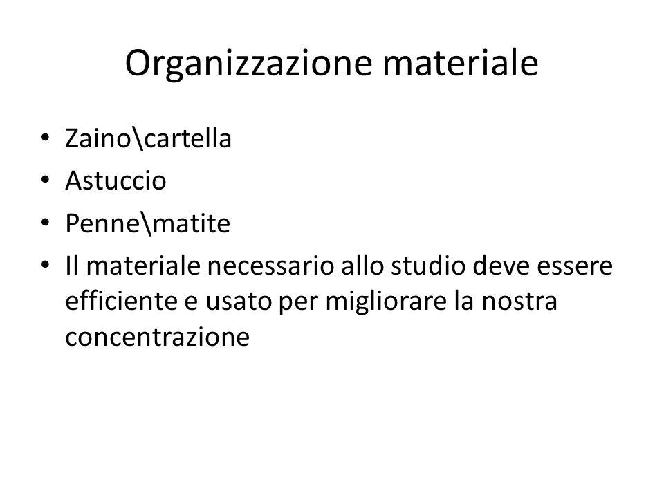 Organizzazione materiale Zaino\cartella Astuccio Penne\matite Il materiale necessario allo studio deve essere efficiente e usato per migliorare la nostra concentrazione