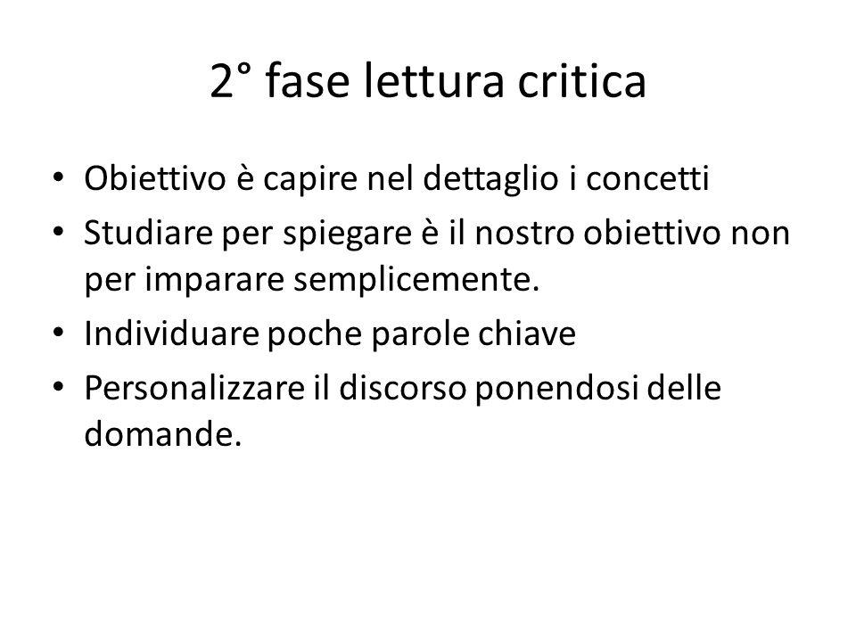 2° fase lettura critica Obiettivo è capire nel dettaglio i concetti Studiare per spiegare è il nostro obiettivo non per imparare semplicemente.
