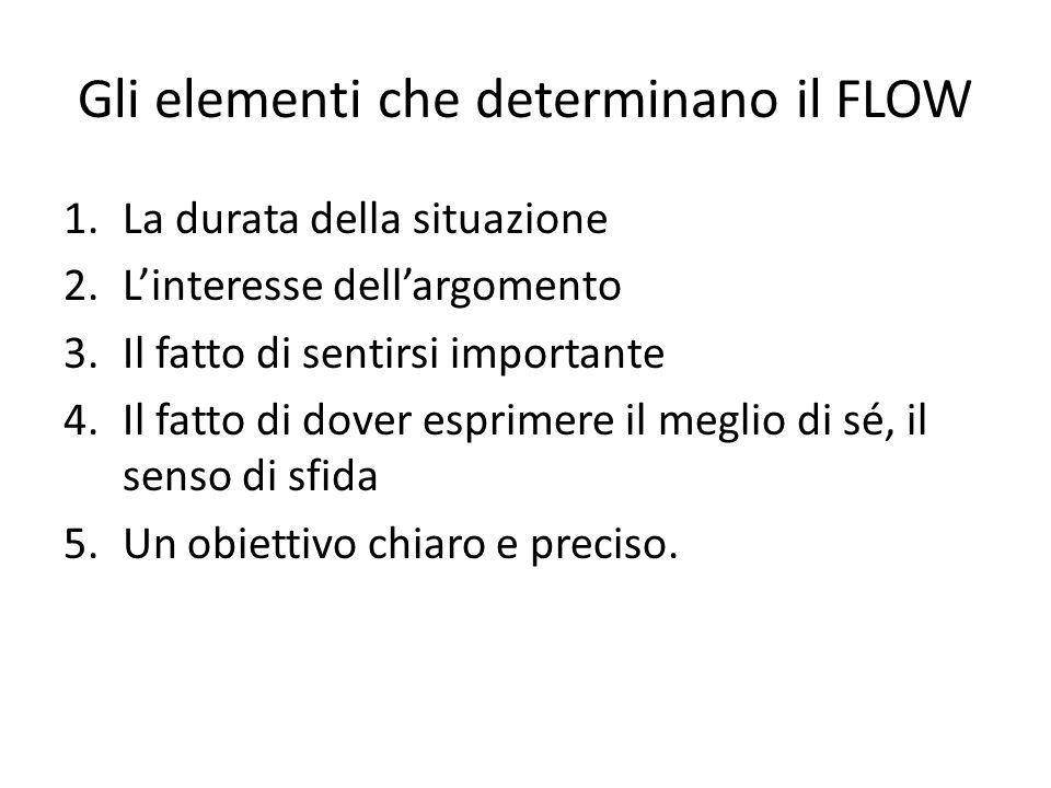 Gli elementi che determinano il FLOW 1.La durata della situazione 2.L'interesse dell'argomento 3.Il fatto di sentirsi importante 4.Il fatto di dover esprimere il meglio di sé, il senso di sfida 5.Un obiettivo chiaro e preciso.