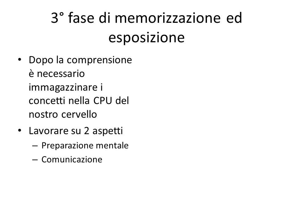 3° fase di memorizzazione ed esposizione Dopo la comprensione è necessario immagazzinare i concetti nella CPU del nostro cervello Lavorare su 2 aspetti – Preparazione mentale – Comunicazione