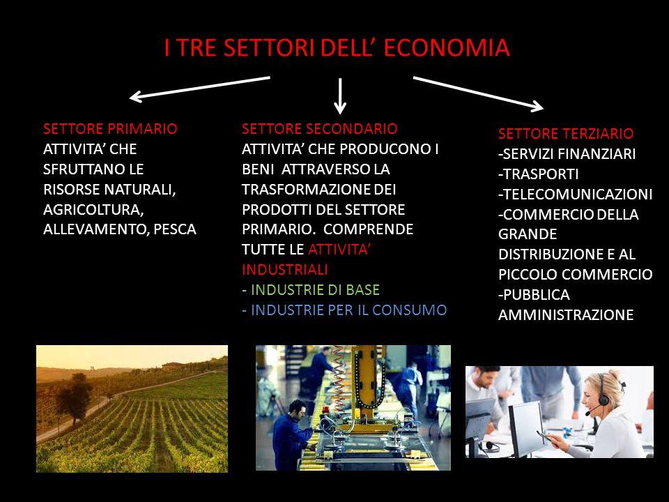 I TRE SETTORI DELL' ECONOMIA SETTORE PRIMARIO ATTIVITA' CHE SFRUTTANO LE RISORSE NATURALI, AGRICOLTURA, ALLEVAMENTO, PESCA SETTORE SECONDARIO ATTIVITA