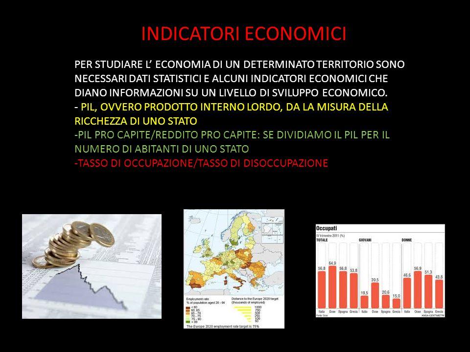 INDICATORI ECONOMICI PER STUDIARE L' ECONOMIA DI UN DETERMINATO TERRITORIO SONO NECESSARI DATI STATISTICI E ALCUNI INDICATORI ECONOMICI CHE DIANO INFO