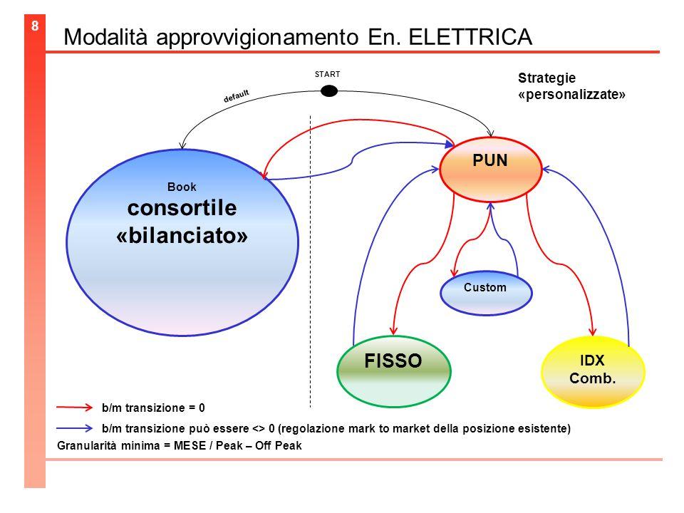 Modalità approvvigionamento En. ELETTRICA 8 Book consortile «bilanciato» PUN FISSO IDX Comb.