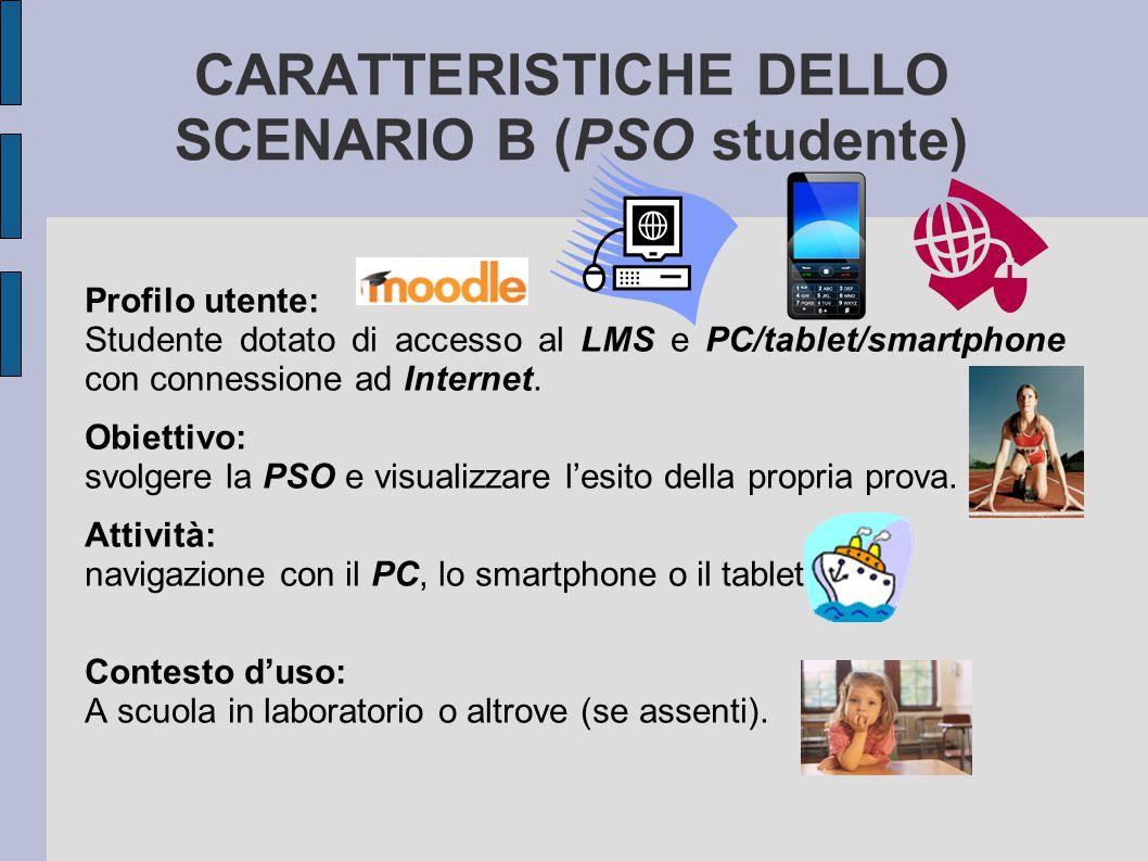 CARATTERISTICHE DELLO SCENARIO B (PSO studente) Profilo utente: Studente dotato di accesso al LMS e PC/tablet/smartphone con connessione ad Internet.