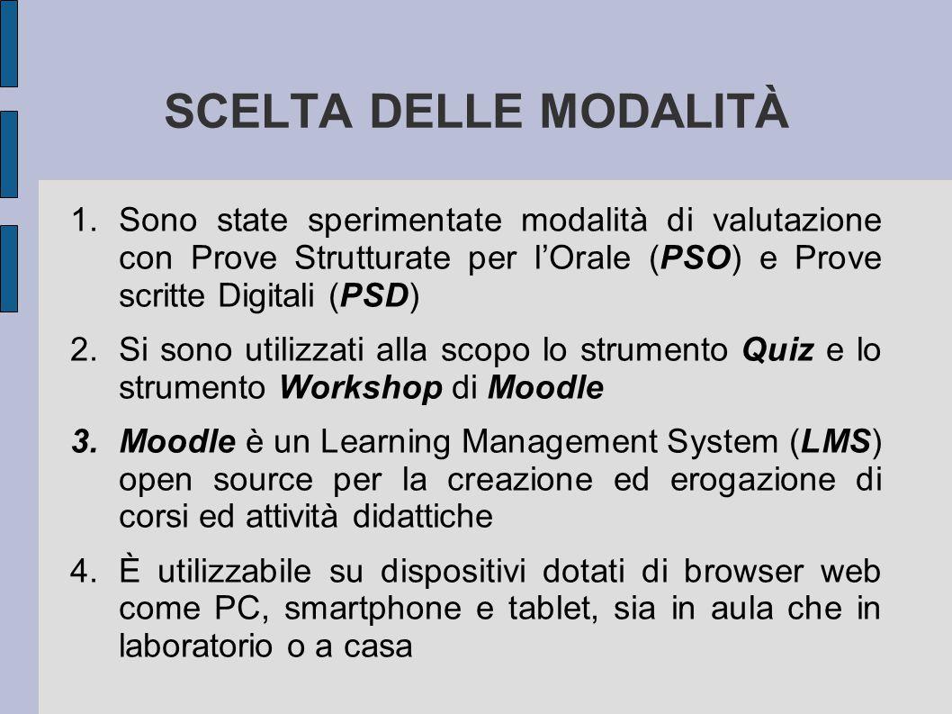 SCELTA DELLE MODALITÀ 1.Sono state sperimentate modalità di valutazione con Prove Strutturate per l'Orale (PSO) e Prove scritte Digitali (PSD) 2.Si so