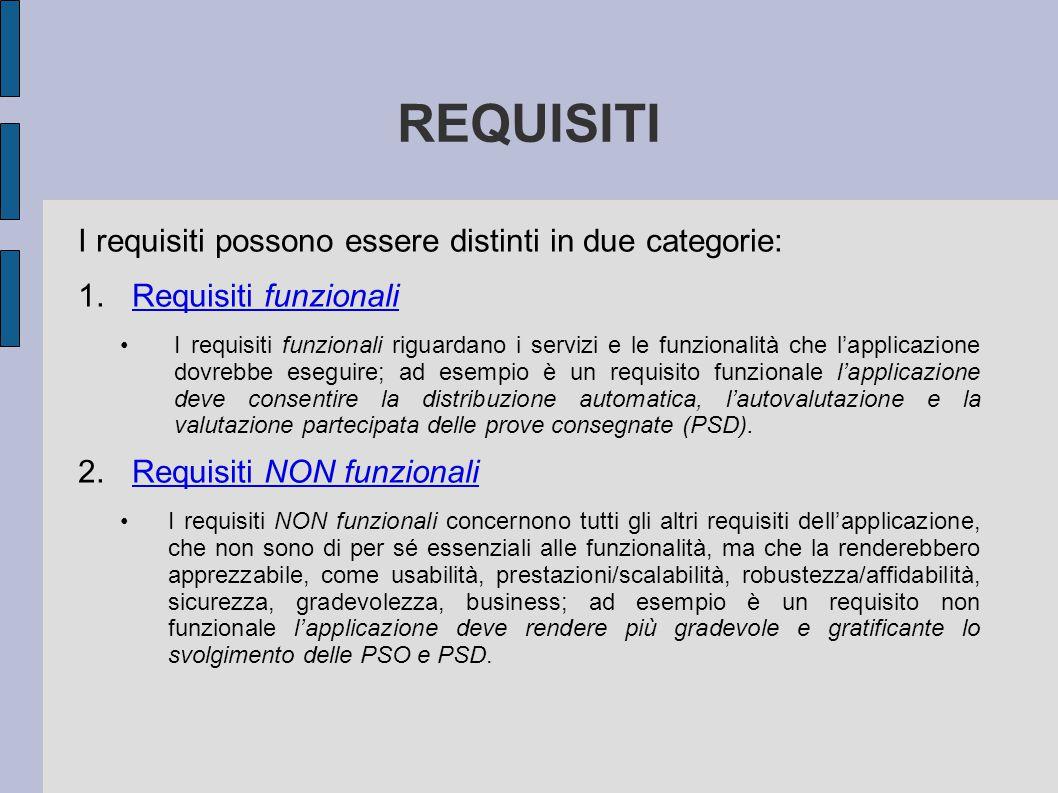 REQUISITI I requisiti possono essere distinti in due categorie: 1.Requisiti funzionaliRequisiti funzionali I requisiti funzionali riguardano i servizi