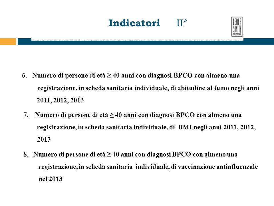 6. Numero di persone di età ≥ 40 anni con diagnosi BPCO con almeno una registrazione, in scheda sanitaria individuale, di abitudine al fumo negli anni