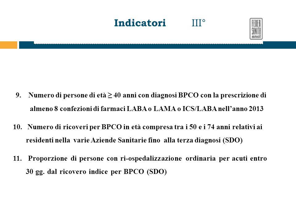 9. Numero di persone di età ≥ 40 anni con diagnosi BPCO con la prescrizione di almeno 8 confezioni di farmaci LABA o LAMA o ICS/LABA nell'anno 2013 10