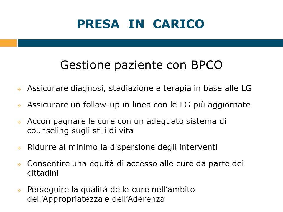 PRESA IN CARICO Gestione paziente con BPCO  Assicurare diagnosi, stadiazione e terapia in base alle LG  Assicurare un follow-up in linea con le LG p