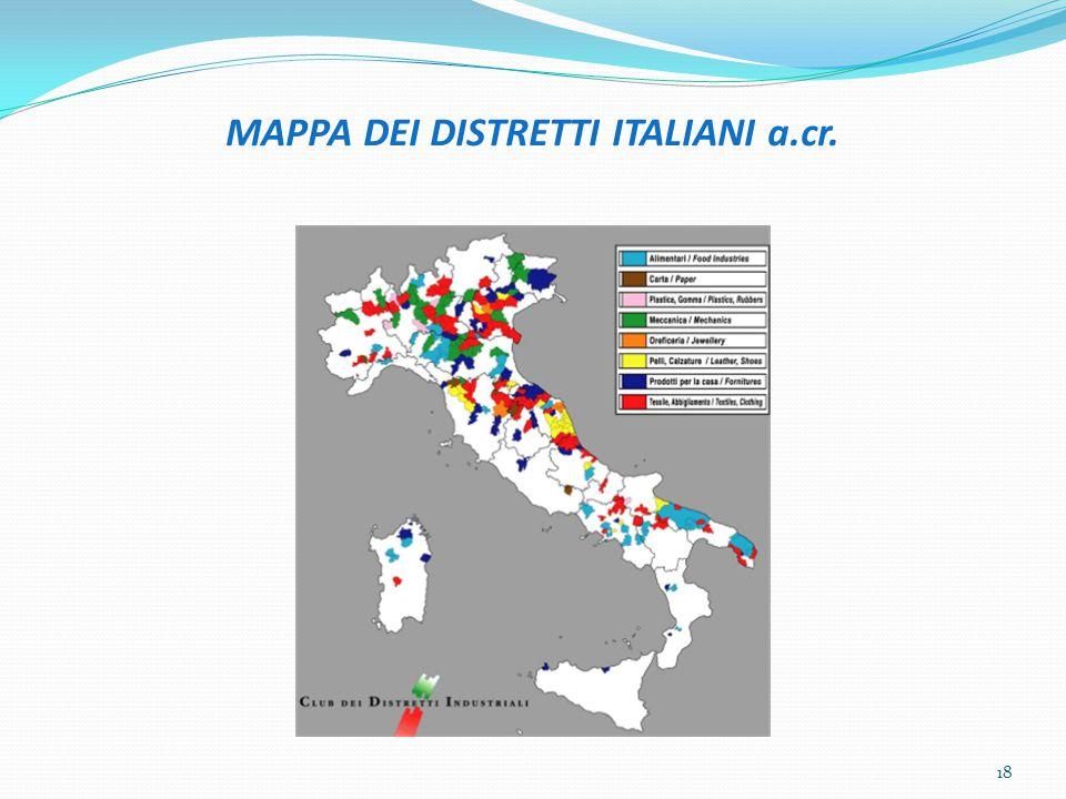 MAPPA DEI DISTRETTI ITALIANI a.cr. 18