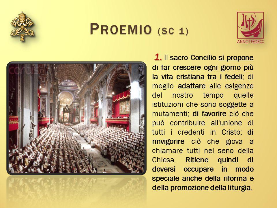 STRUTTURA P ROEMIO - P ROEMIO - (nn.1-4) P RINCIPI GENERALI PER LA RIFORMA E L ' INCREMENTO DELLA SACRA LITURGIA - P RINCIPI GENERALI PER LA RIFORMA E L ' INCREMENTO DELLA SACRA LITURGIA - (nn.5-46) I L MISTERO EUCARISTICO - I L MISTERO EUCARISTICO - (nn.47-58) GLI ALTRI SACRAMENTI E SACRAMENTALI - GLI ALTRI SACRAMENTI E SACRAMENTALI - (nn.59-82) L' UFFICIO DIVINO - L' UFFICIO DIVINO - (nn.83-101) L' ANNO LITURGICO - L' ANNO LITURGICO - (nn.102-111) L A S ACRA MUSICA - L A S ACRA MUSICA - (nn.112-121) A RTE SACRA E SACRA SUPPELLETTILE – A RTE SACRA E SACRA SUPPELLETTILE – (nn.122-130)