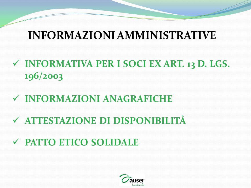 INFORMAZIONI AMMINISTRATIVE INFORMATIVA PER I SOCI EX ART. 13 D. LGS. 196/2003 INFORMAZIONI ANAGRAFICHE ATTESTAZIONE DI DISPONIBILITÀ PATTO ETICO SOLI